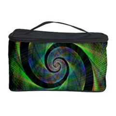Green Spiral Fractal Wired Cosmetic Storage Case by Nexatart