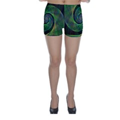 Green Spiral Fractal Wired Skinny Shorts