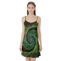Green Spiral Fractal Wired Satin Night Slip