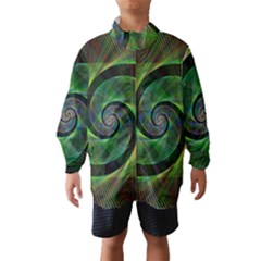 Green Spiral Fractal Wired Wind Breaker (kids)
