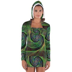 Green Spiral Fractal Wired Long Sleeve Hooded T Shirt
