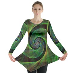 Green Spiral Fractal Wired Long Sleeve Tunic