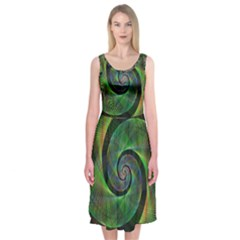 Green Spiral Fractal Wired Midi Sleeveless Dress