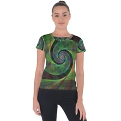 Green Spiral Fractal Wired Short Sleeve Sports Top