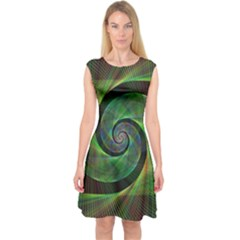 Green Spiral Fractal Wired Capsleeve Midi Dress