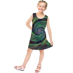 Green Spiral Fractal Wired Kids  Tunic Dress