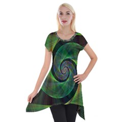 Green Spiral Fractal Wired Short Sleeve Side Drop Tunic by Nexatart