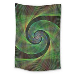 Green Spiral Fractal Wired Large Tapestry