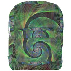Green Spiral Fractal Wired Full Print Backpack by Nexatart