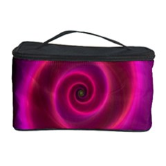 Pink Background Neon Neon Light Cosmetic Storage Case by Nexatart