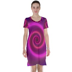 Pink Background Neon Neon Light Short Sleeve Nightdress