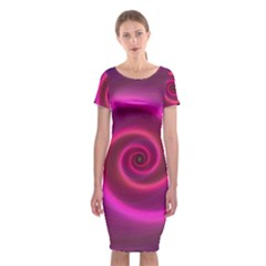 Pink Background Neon Neon Light Classic Short Sleeve Midi Dress