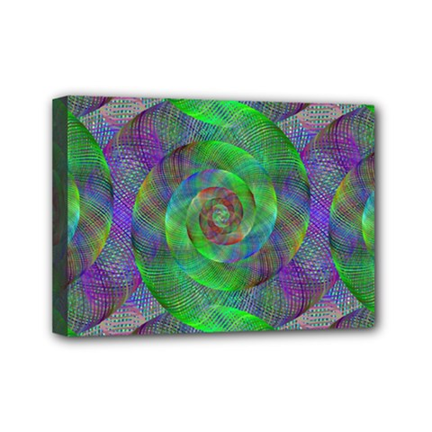 Fractal Spiral Swirl Pattern Mini Canvas 7  X 5