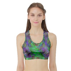 Fractal Spiral Swirl Pattern Sports Bra With Border