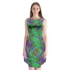 Fractal Spiral Swirl Pattern Sleeveless Chiffon Dress