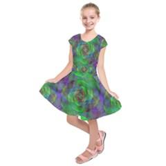 Fractal Spiral Swirl Pattern Kids  Short Sleeve Dress
