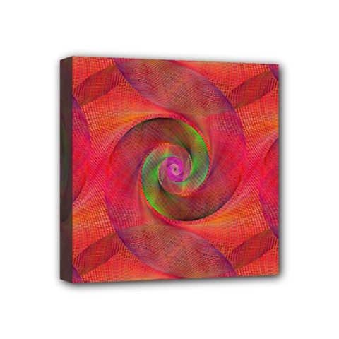 Red Spiral Swirl Pattern Seamless Mini Canvas 4  X 4  by Nexatart