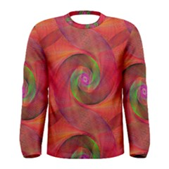 Red Spiral Swirl Pattern Seamless Men s Long Sleeve Tee