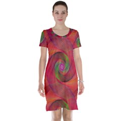 Red Spiral Swirl Pattern Seamless Short Sleeve Nightdress