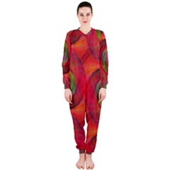 Red Spiral Swirl Pattern Seamless Onepiece Jumpsuit (ladies)