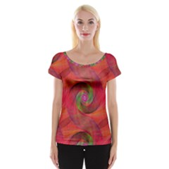 Red Spiral Swirl Pattern Seamless Cap Sleeve Tops