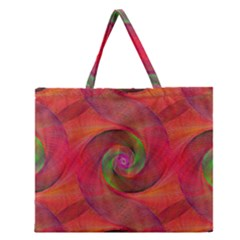 Red Spiral Swirl Pattern Seamless Zipper Large Tote Bag by Nexatart