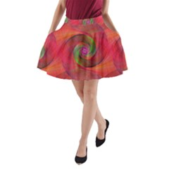 Red Spiral Swirl Pattern Seamless A Line Pocket Skirt by Nexatart