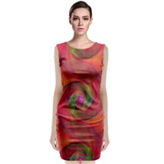 Red Spiral Swirl Pattern Seamless Classic Sleeveless Midi Dress