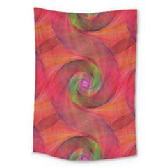 Red Spiral Swirl Pattern Seamless Large Tapestry