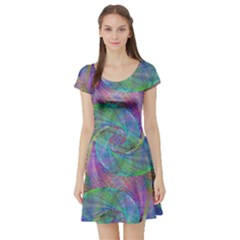 Spiral Pattern Swirl Pattern Short Sleeve Skater Dress