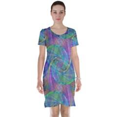 Spiral Pattern Swirl Pattern Short Sleeve Nightdress