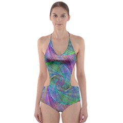 Spiral Pattern Swirl Pattern Cut Out One Piece Swimsuit