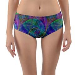 Spiral Pattern Swirl Pattern Reversible Mid-Waist Bikini Bottoms