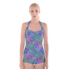 Spiral Pattern Swirl Pattern Boyleg Halter Swimsuit