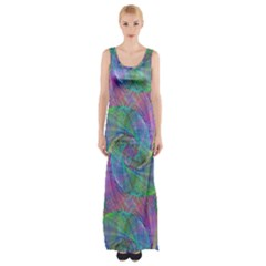 Spiral Pattern Swirl Pattern Maxi Thigh Split Dress