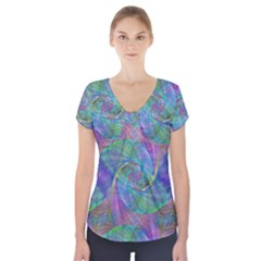 Spiral Pattern Swirl Pattern Short Sleeve Front Detail Top
