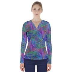 Spiral Pattern Swirl Pattern V-Neck Long Sleeve Top