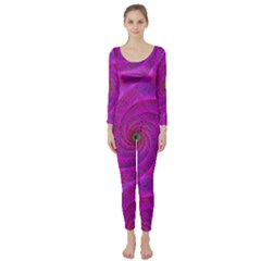 Pink Abstract Background Curl Long Sleeve Catsuit by Nexatart