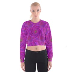 Pink Abstract Background Curl Cropped Sweatshirt