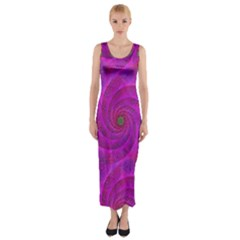 Pink Abstract Background Curl Fitted Maxi Dress