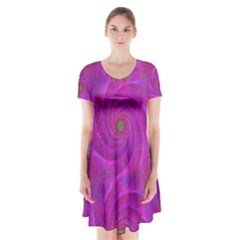 Pink Abstract Background Curl Short Sleeve V Neck Flare Dress