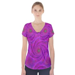 Pink Abstract Background Curl Short Sleeve Front Detail Top