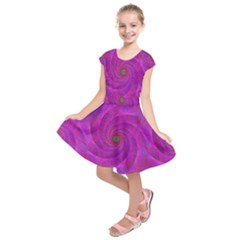 Pink Abstract Background Curl Kids  Short Sleeve Dress