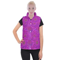 Pink Abstract Background Curl Women s Button Up Puffer Vest