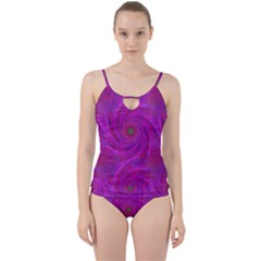 Pink Abstract Background Curl Cut Out Top Tankini Set