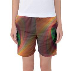 Ellipse Fractal Orange Background Women s Basketball Shorts