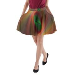 Ellipse Fractal Orange Background A Line Pocket Skirt
