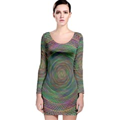 Spiral Spin Background Artwork Long Sleeve Velvet Bodycon Dress