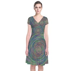 Spiral Spin Background Artwork Short Sleeve Front Wrap Dress by Nexatart