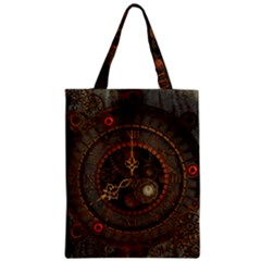 Steampunk, Awesome Clocks Zipper Classic Tote Bag by FantasyWorld7
